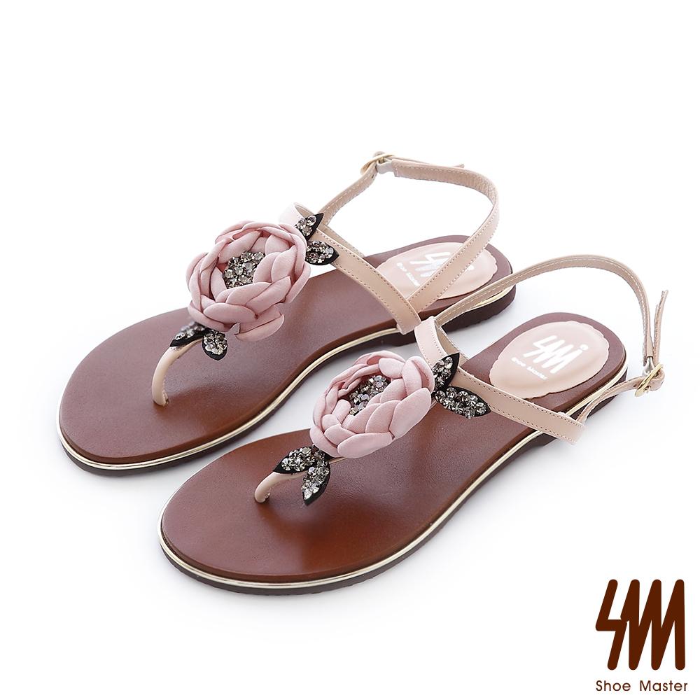 SM-晶鑽系列-山茶花水鑽T字夾腳平底涼鞋-粉色