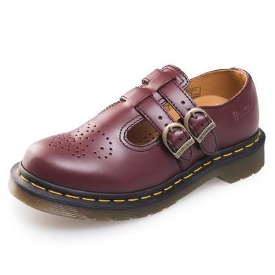 Dr.Martens-經典8065MARY JANE橫帶雙扣瑪莉珍鞋-酒紅色