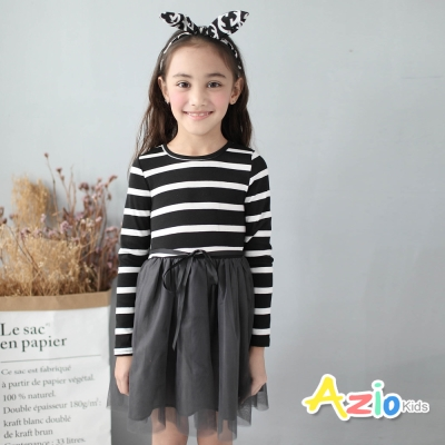 Azio Kids 童裝-洋裝 條紋綁帶網紗長袖洋裝(黑)