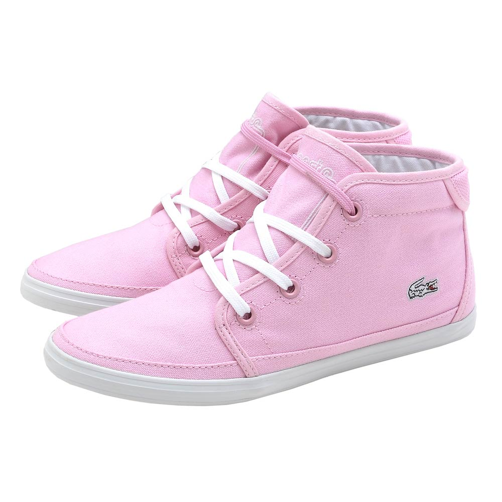 Lacoste ZIANE 女用中筒休閒帆布鞋-粉紅