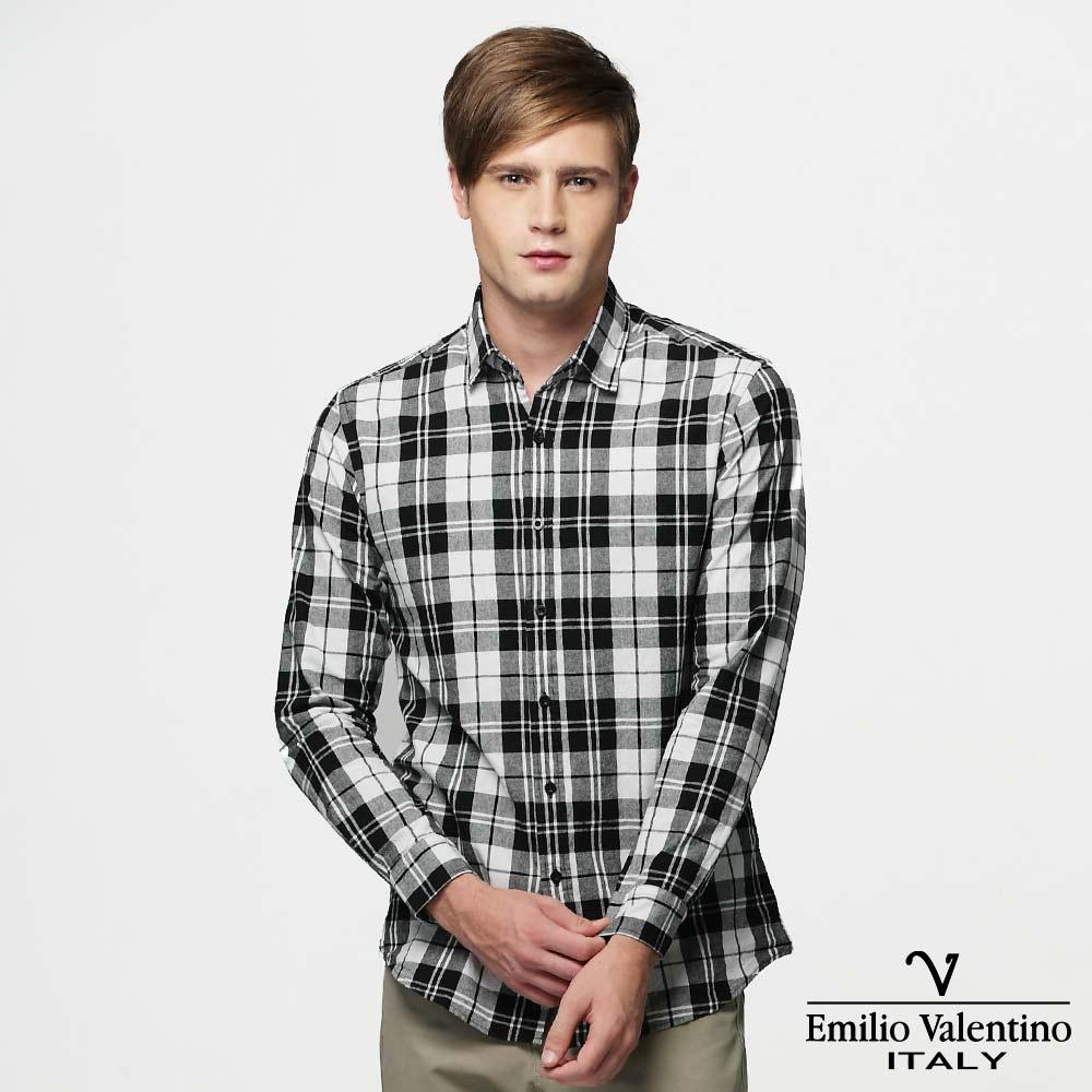 Emilio Valentino 范倫提諾水洗格紋襯衫-黑