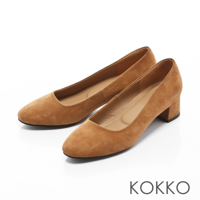 KOKKO-復古美學方頭真皮粗跟鞋-焦糖棕