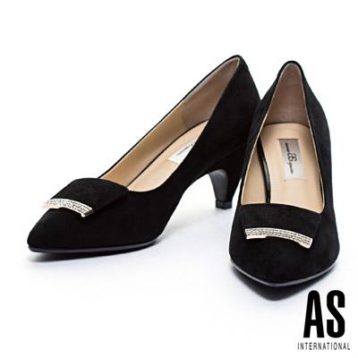 高跟鞋-AS-細緻晶鑽麂皮方釦羊麂皮尖頭高跟鞋-黑