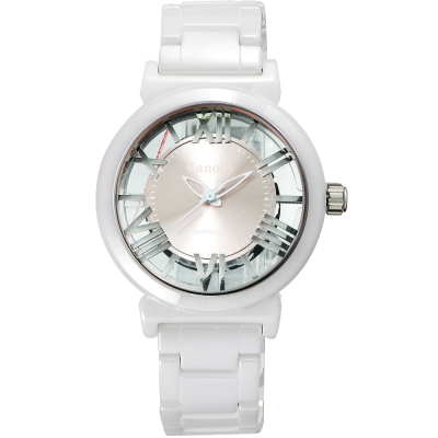 Canody 浮雕時尚 雙鏤空羅馬陶瓷腕錶-白x粉紅/35mm