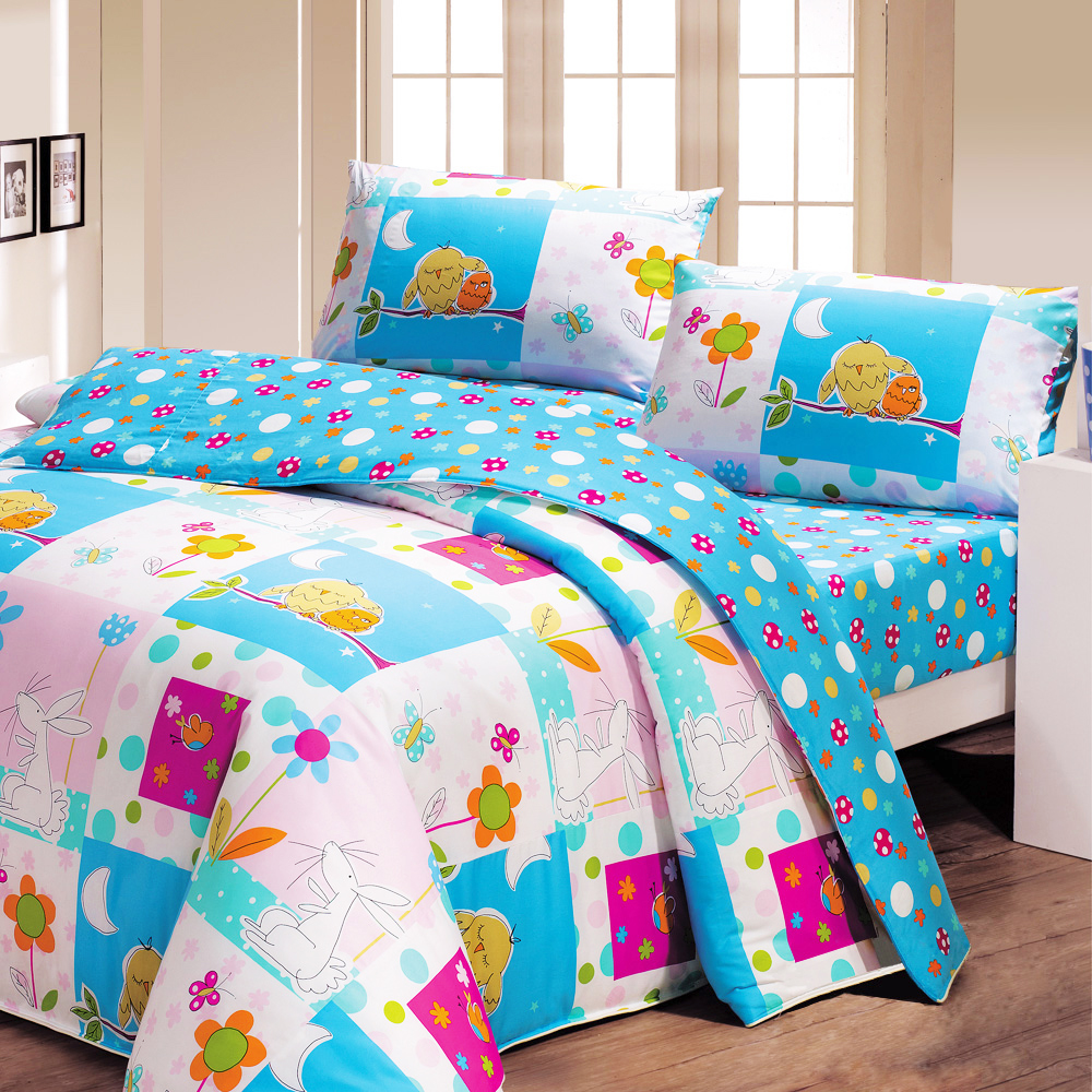鴻宇 美國棉 防蹣抗菌 晚安貓頭鷹 雙人床包枕套三件組