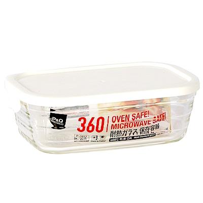 樂扣樂扣 P&Q輕鬆蓋耐熱玻璃盒-長方形360ML(白色)(快)