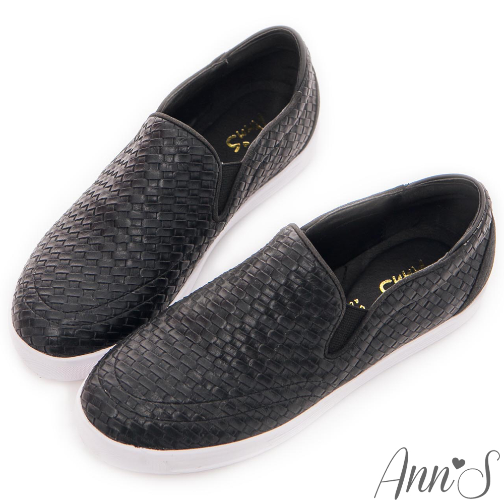 Ann'S休閒俏皮-編織厚底懶人鞋 黑