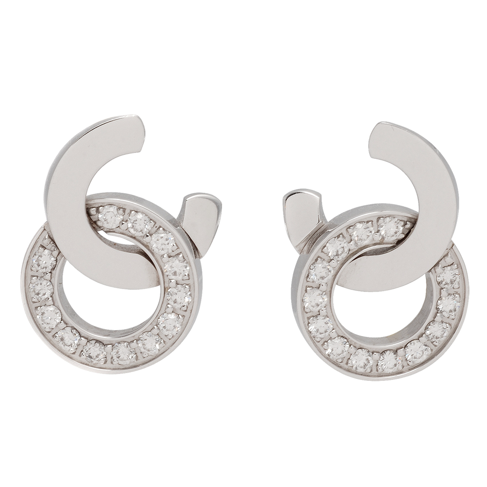 PIAGET伯爵 Possession系列18K白金雙環造型鑲鑽穿式耳環(銀)