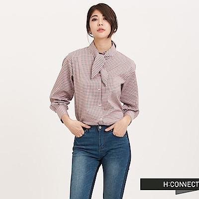 H:CONNECT 韓國品牌 女裝 - 格紋領巾襯衫 - 粉