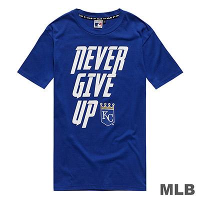 MLB-堪薩斯皇家隊標語印花短T-藍 (男)