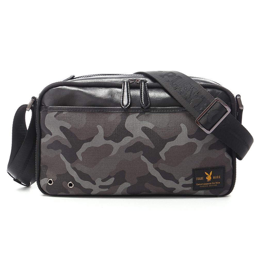 PLAYBOY- Camouflage 越野迷彩兔系列 橫式斜背包-迷彩黑