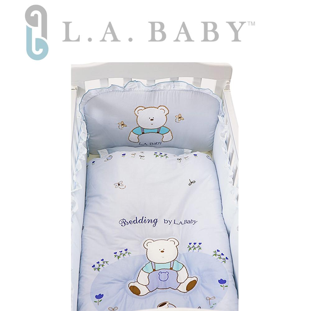 (美國 L.A. Baby)田園巴黎純棉五件式寢具組(S)( 藍色)