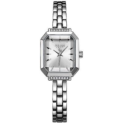 JULIUS聚利時 巴黎戀人復古方形鍊帶腕錶-銀色/20X17mm