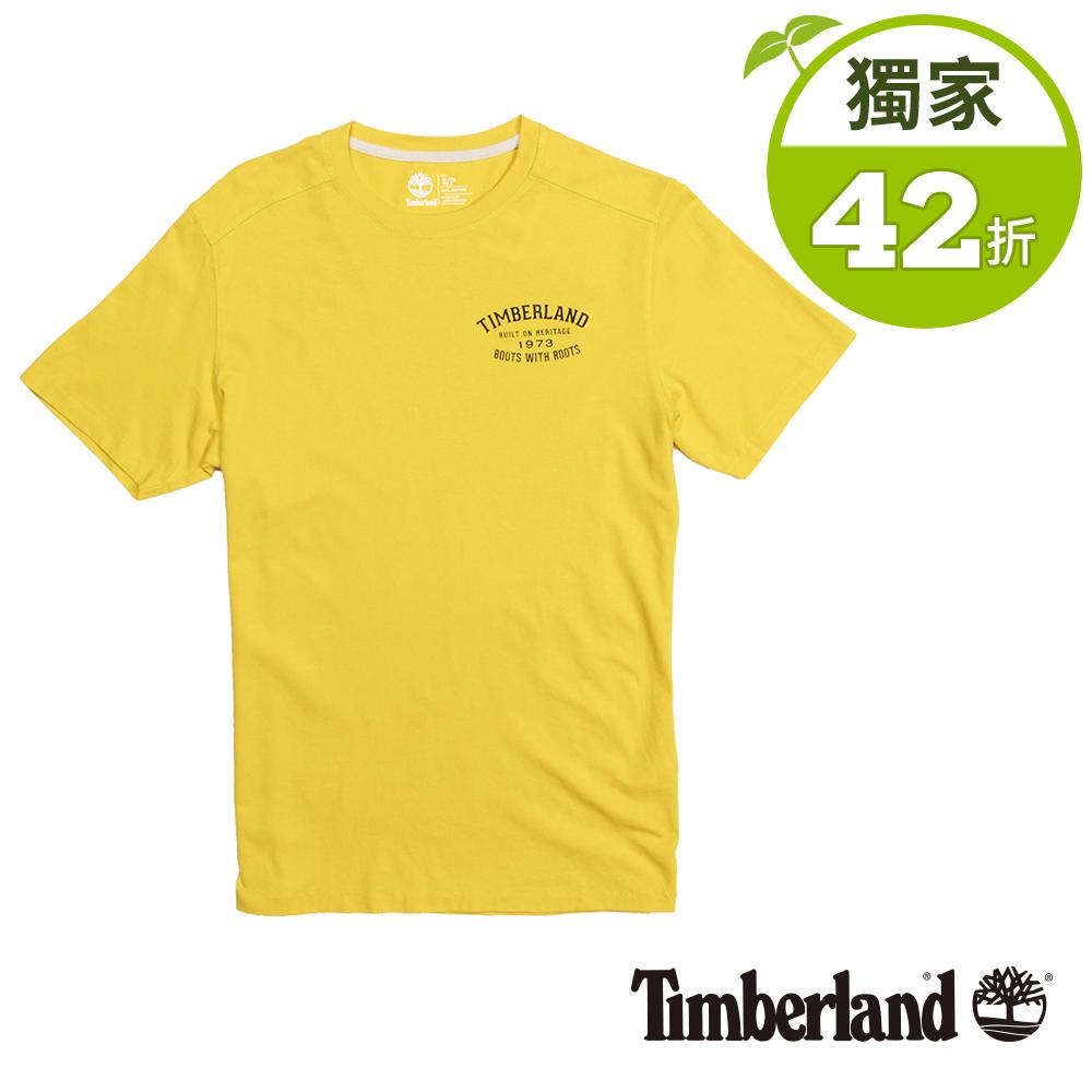 Timberland 男款黃色前後品牌印花短袖T恤