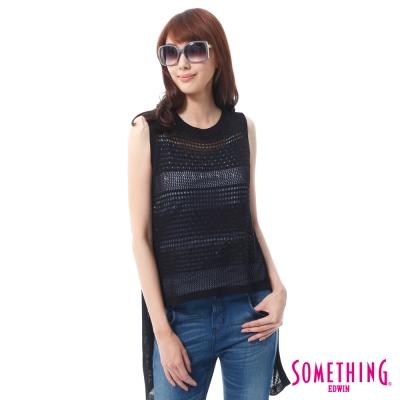 SOMETHING-浪漫長版線衫背心-女-黑色