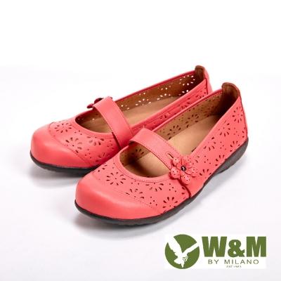 W&M 鏤空雕花設計透氣娃娃鞋-紅(另有淺藍、米)