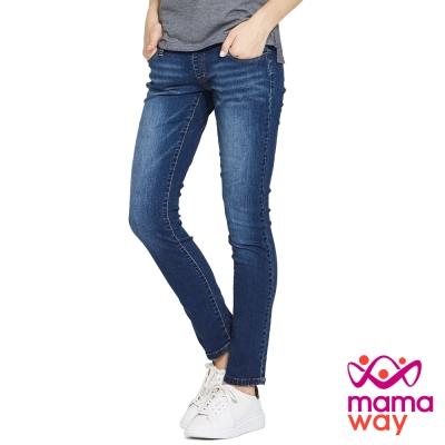 孕婦褲-牛仔褲-孕期刷白窄管牛仔褲-Mamaway