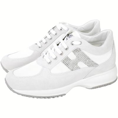 HOGAN Interactive H 鑽飾網布拼接麂皮綁帶休閒鞋(灰白色)
