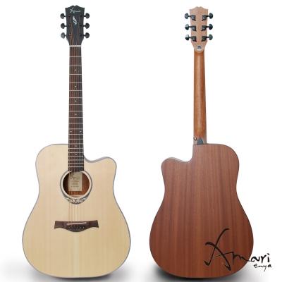 Amari 41吋雲杉木面板缺角民謠吉他-原木色