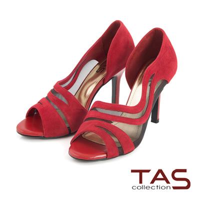 TAS-透膚網紗側鏤空羊麂皮高跟鞋-派對紅