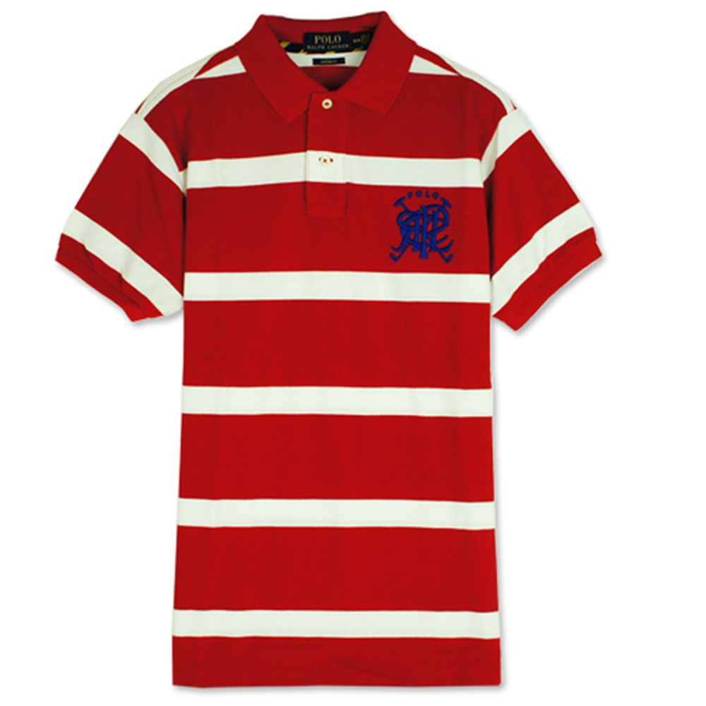 Ralph Lauren 疊字LOGO條紋POLO衫(紅白)