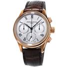 康斯登 CONSTANT自製機芯返馳式計時腕錶-42mm/白x咖啡