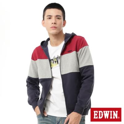 EDWIN-經典剪接配色連帽拉T-男款-丈青