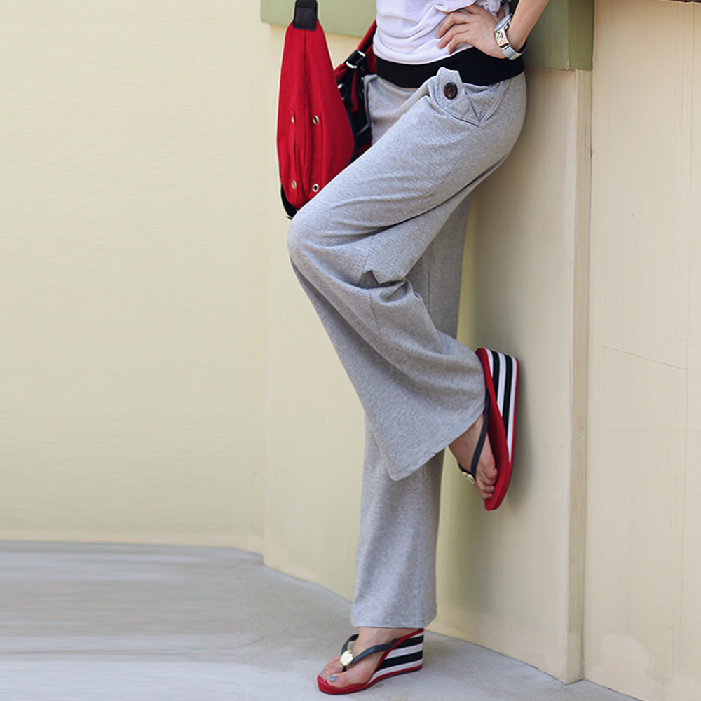 【N.C21】扣飾口袋百搭棉質長褲 (共四色)