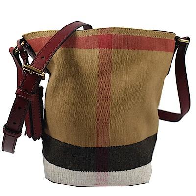 BURBERRY 格紋棉麻系列斜背水桶包(紅)