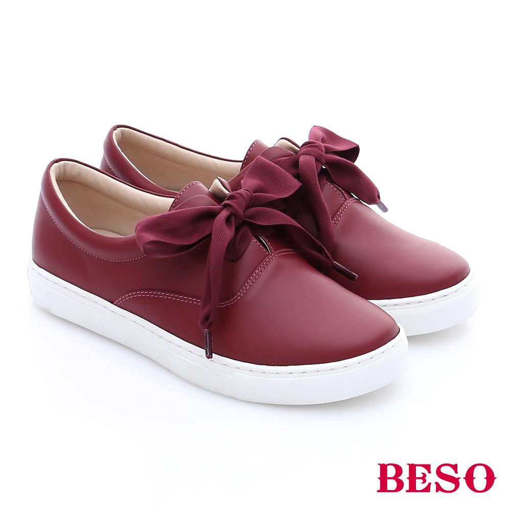 BESO簡約知性大蝴蝶結綁帶休閒鞋紅色
