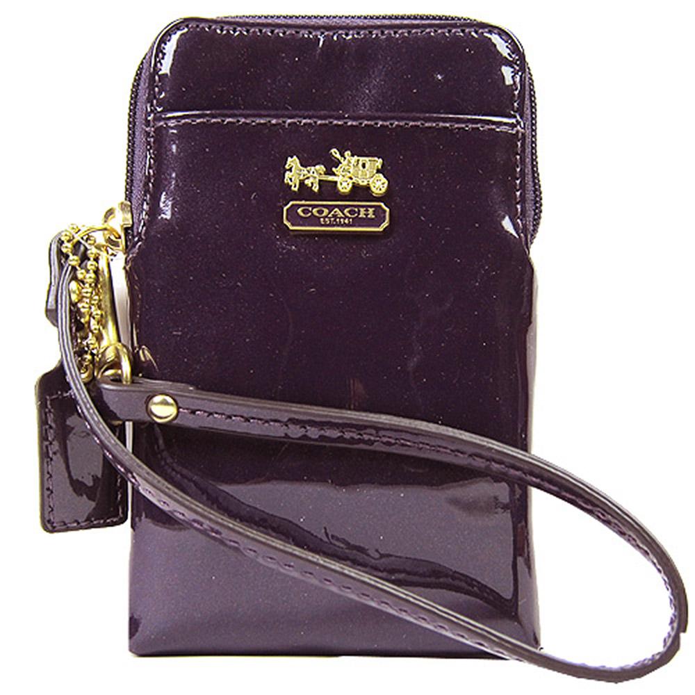 COACH MADISON 馬車漆皮亮面直式萬用袋(紫)COACH