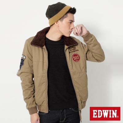 EDWIN-徽章魅力-毛裡立領飛行防寒外套-男-淺卡其
