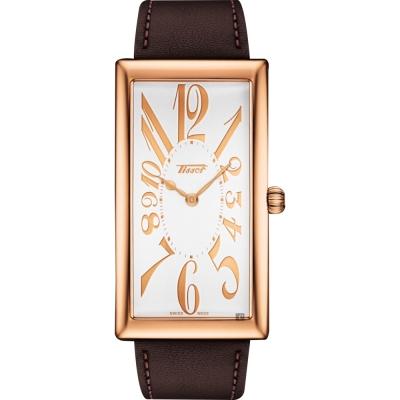 TISSOT天梭 Heritage Banana 100週年紀念錶-玫塊金框x咖啡色