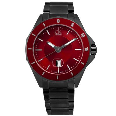 CK 完美霸氣日期不鏽鋼腕錶-紅x鍍黑/44mm