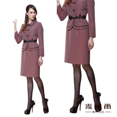 麥雪爾-美麗人生-OL經典樣式圓點五分窄裙