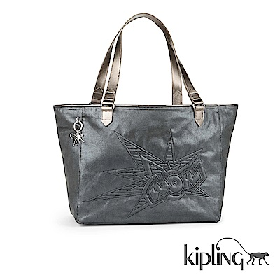 Kipling 手提包 質感圖騰黑-大