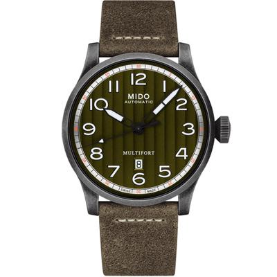 MIDO 美度錶 Multifort先鋒系列波紋復刻機械腕錶-綠x灰/44mm