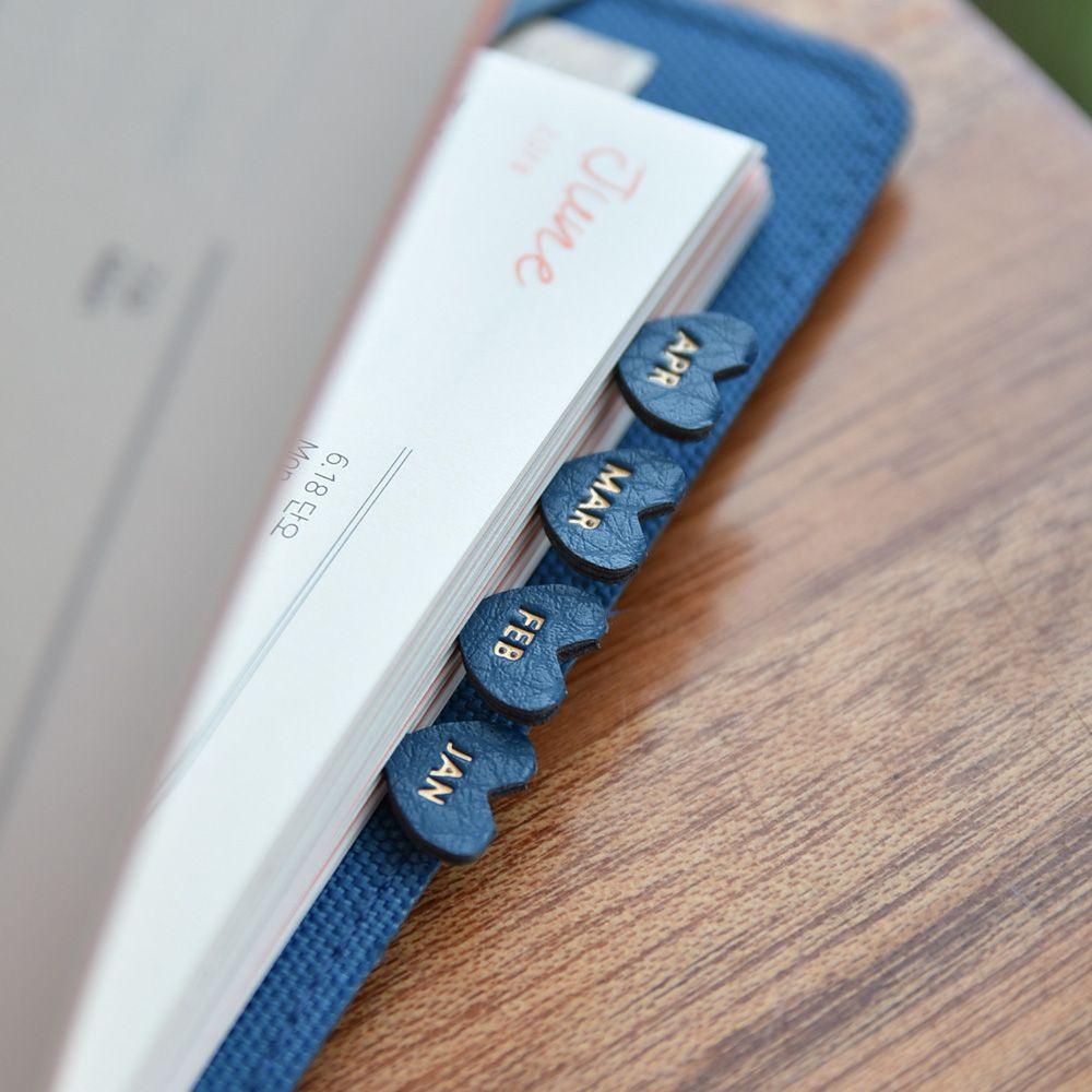 PLEPIC 愛心造型皮革標籤貼-海軍藍