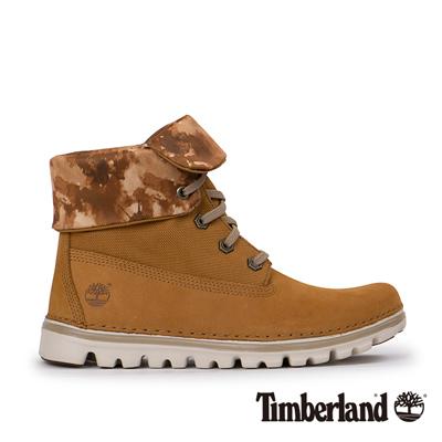 Timberland-女款小麥黃素面翻領高筒靴