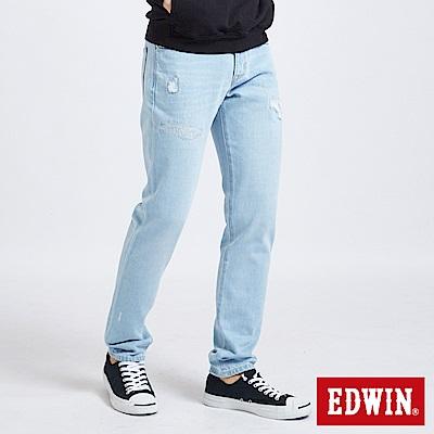 EDWIN 大尺碼503補丁磨破AB褲 -男-重漂藍