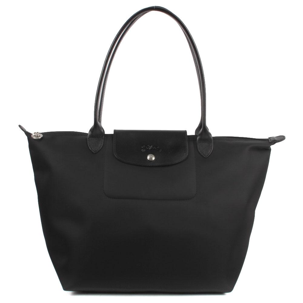 Longchamp 中型長柄水餃包-黑色