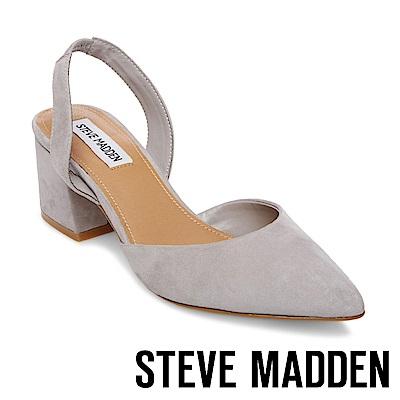 STEVE MADDEN-DAY  麂皮尖頭粗跟後帶涼鞋-灰色