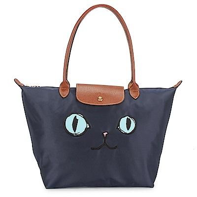 Longchamp-MIAOU-貓咪刺繡圖樣長提把
