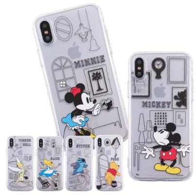 Disney迪士尼iPhone X 生活線條防摔氣墊空壓保護套