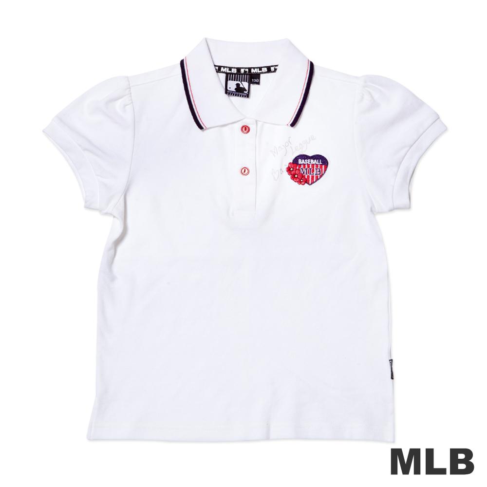 MLB-可愛小花朵電繡短袖POLO衫-白女童