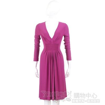 ALBERTA FERRETTI 桃紫色皺褶長袖V領洋裝