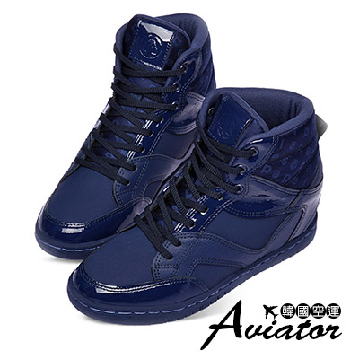 Aviator韓國品牌-Paperplanes正韓製個性皮革高筒增高鞋-深藍
