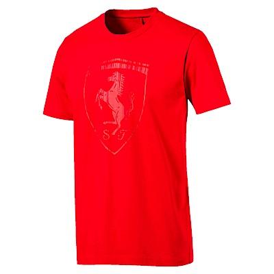 PUMA-男性法拉利經典系列大盾牌短袖T恤-法拉利紅-歐規