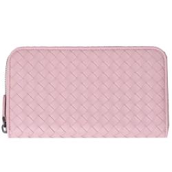BOTTEGA VENETA 經典皮革編織拉鍊長夾(粉紅色)