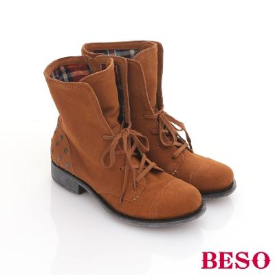 BESO-2way系列-鉚釘格紋布反折綁帶短靴-卡